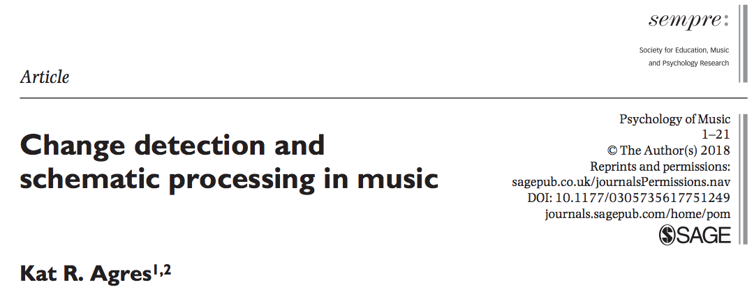 New paper out in the Psychology of Music! | Kat Agres on
